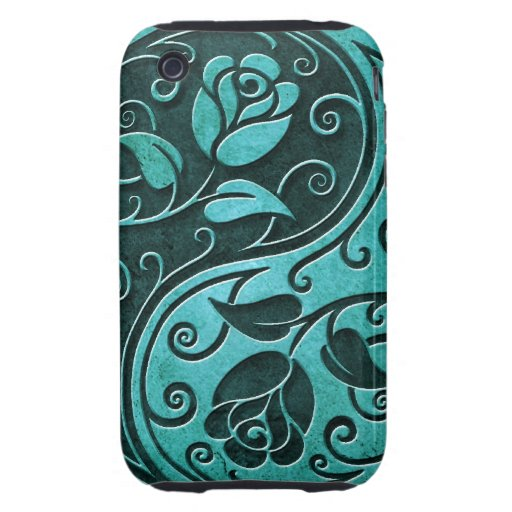 Rosas de Yin Yang de la piedra azul Tough iPhone 3 Cobertura