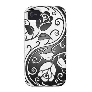 Rosas de Yin Yang, firmemente Case-Mate iPhone 4 Fundas