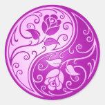 Rosas de Yin Yang, púrpuras Etiqueta Redonda