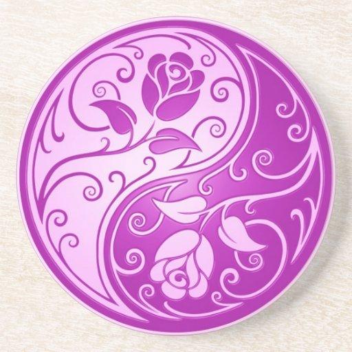 Rosas de Yin Yang, púrpuras Posavasos Diseño