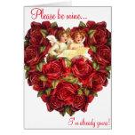 Rosas del amor del corazón del Cupid de la tarjeta
