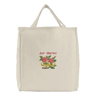 Rosas del anillo de bodas - apenas casados bolsa de lienzo
