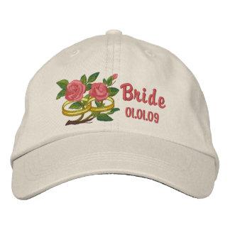 Rosas del anillo de bodas - novia gorra bordada
