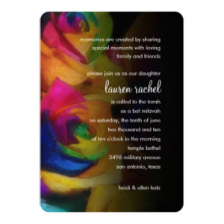 """Rosas del arco iris de Mitzvah del palo en negro Invitación 5"""" X 7"""""""