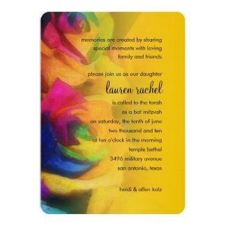 """Rosas del arco iris de Mitzvah del palo Invitación 5"""" X 7"""""""