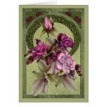 Rosas del art déco tarjeta de felicitación