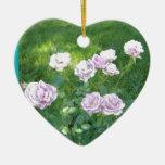 Rosas del atontamiento Lavendar Ornamento Para Arbol De Navidad