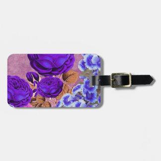 Rosas del azul de la lavanda etiqueta para equipaje
