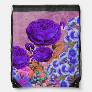Rosas del azul de la lavanda mochilas