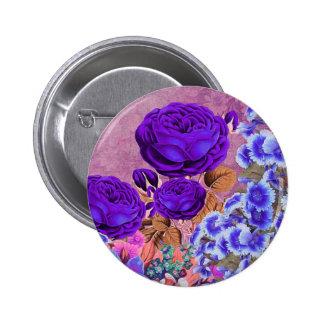 Rosas del azul de la lavanda pin redondo de 2 pulgadas
