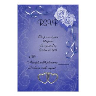 Rosas del azul de la tarjeta de la respuesta de RS Anuncios Personalizados