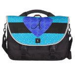 Rosas del azul del monograma de las estrellas azul bolsas de portatil