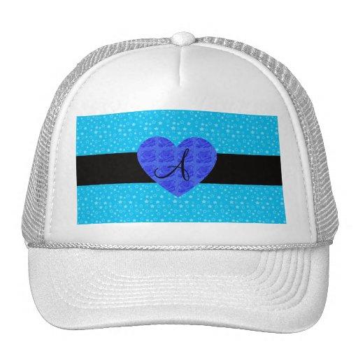 Rosas del azul del monograma de las estrellas azul gorros bordados