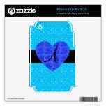 Rosas del azul del monograma de las estrellas azul iPhone 3 skin