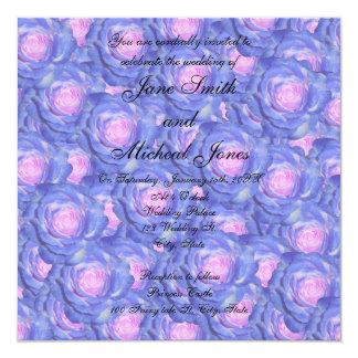 Rosas del azul del monograma del boda comunicados personalizados