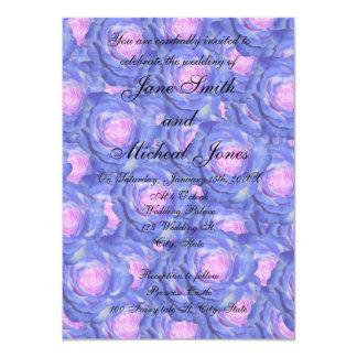 Rosas del azul del monograma del boda comunicado personal