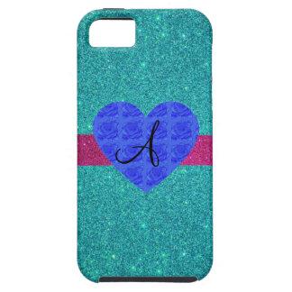 Rosas del azul del monograma del brillo de la turq iPhone 5 Case-Mate carcasas