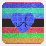 Rosas del azul del monograma del brillo del arco i pegatinas cuadradas