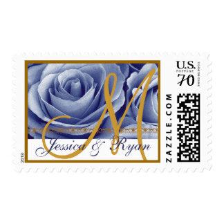 Rosas del azul y del oro del Cornflower del Sello