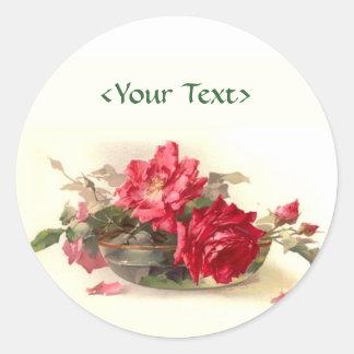 Rosas del bol de vidrio - personalizar etiqueta redonda
