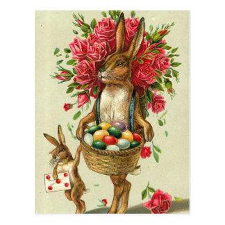 Rosas del conejito de pascua y conejito magníficos postales