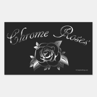 Rosas del cromo pegatina rectangular