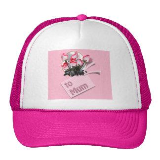 Rosas del día de madre para la momia (en rosa) gorras de camionero