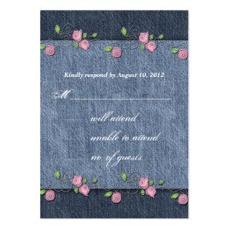 Rosas del dril de algodón n que casan la tarjeta d tarjetas de negocios