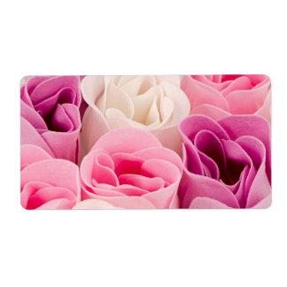 Rosas del jabón etiquetas de envío