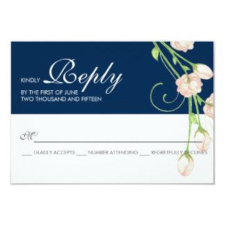 """Rosas del jardín del vintage en el azul - tarjeta invitación 3.5"""" x 5"""""""
