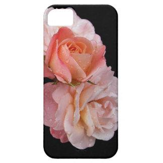 Rosas del melocotón en fondo negro iPhone 5 protectores