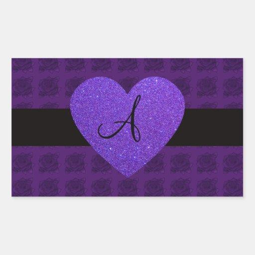 Rosas del monograma del corazón púrpura pegatina rectangular