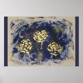 Rosas del oro en la marina de guerra póster