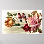 Rosas del pájaro del vintage de la cartera posters