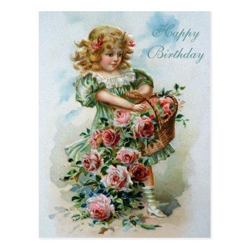 Rosas del rosa de la postal del Victorian del feli