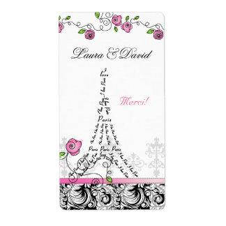 Rosas del rosa de la torre Eiffel de la etiqueta d Etiqueta De Envío