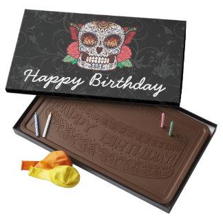 Rosas del rosa del cráneo del azúcar del tatuaje caja con tableta de chocolate con leche grande