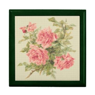 Rosas del rosa del estilo de la tapicería joyero cuadrado grande