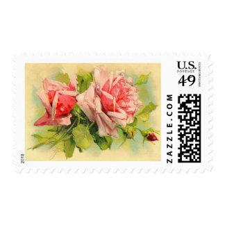 Rosas del rosa del franqueo del boda del vintage sellos