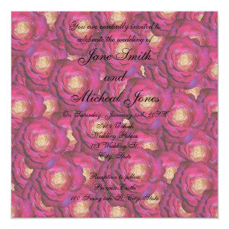 Rosas del rosa del marrón del monograma del boda comunicados personales