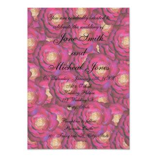 Rosas del rosa del marrón del monograma del boda invitacion personal