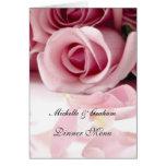 Rosas del rosa del menú del boda tarjetón