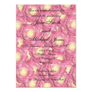 Rosas del rosa del monograma del boda anuncio