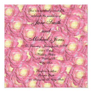 Rosas del rosa del monograma del boda anuncios personalizados
