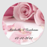 Rosas del rosa del pegatina del boda