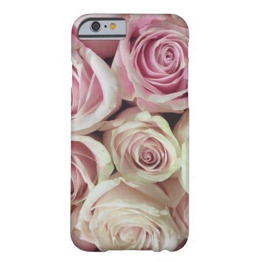 Rosas del rosa en colores pastel funda de iPhone 6 barely there