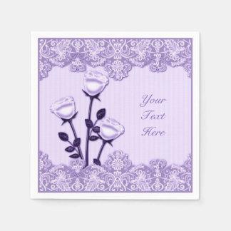 Rosas del satén de la lila elegante y servilletas servilleta desechable