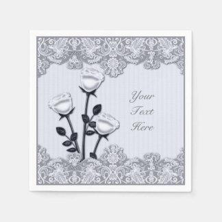 Rosas del satén y servilletas blancos plateados servilletas desechables