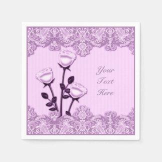 Rosas del satén y servilletas rosados elegantes servilleta de papel