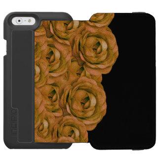 Rosas del tono de la tierra funda billetera para iPhone 6 watson